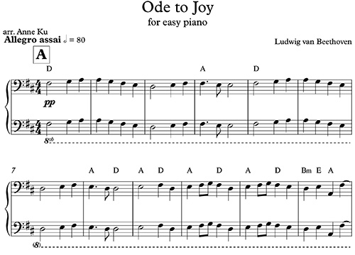 Ode to Joy for Easy Piano (class piano)