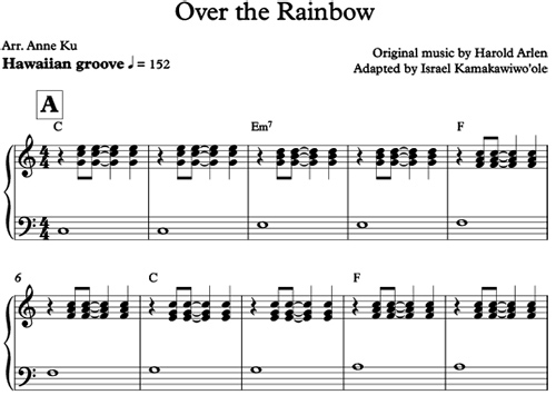 Over the Rainbow from ukelele to easy piano