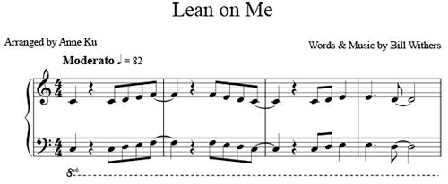 Lean on Me for easy piano u2013 Concert Blog