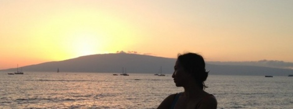 Sunset in Lahaina with a view of Lanai island in January 2013