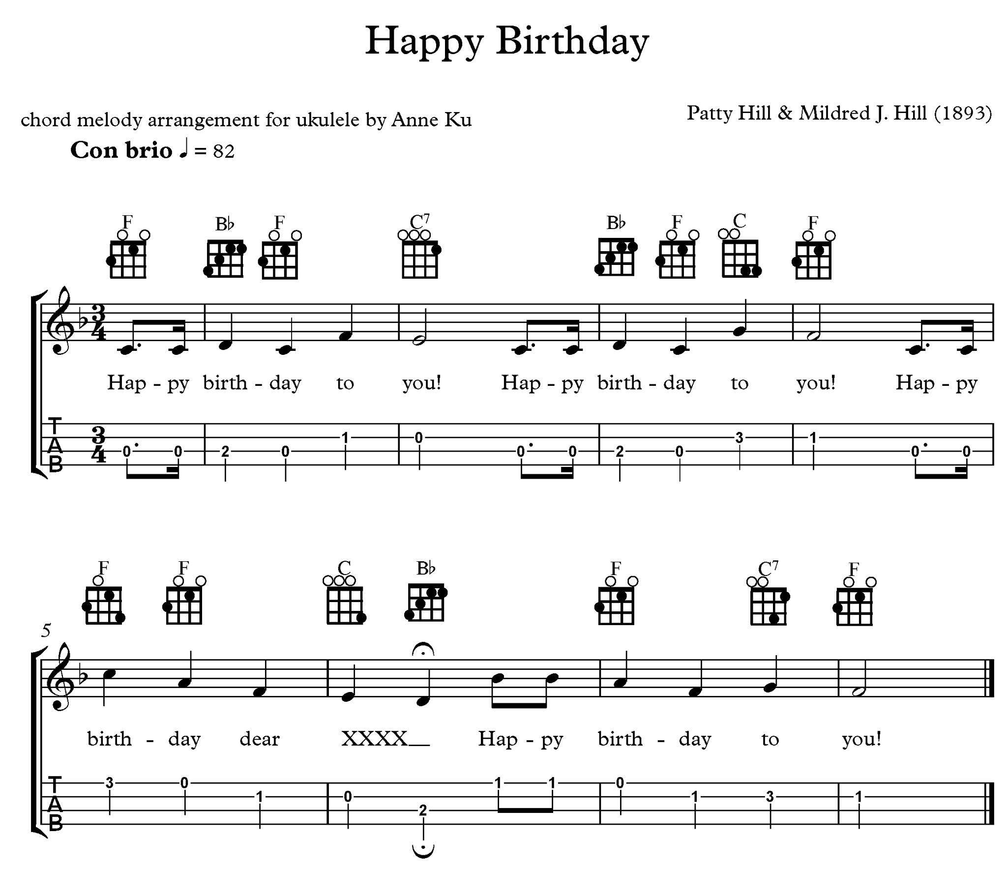 Happy Birthday Chord Melody Arrangement For Ukulele –Anne